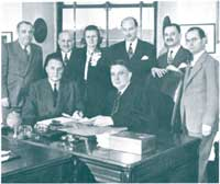 The signing of papers of incorporation for the National Foundation for the Care of Advanced Cancer Patients.