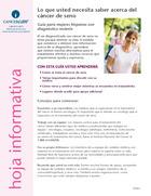 Thumbnail of the PDF version of Lo que usted necesita saber acerca del cáncer de seno: Guía para mujeres hispanas con diagnóstico reciente