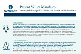 Read our new Patient Values Manifesto, which discusses the importance of including patients' values and priorities in cancer treatment planning>>