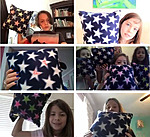 Grid of six images with clients holding up star-patterned pillows