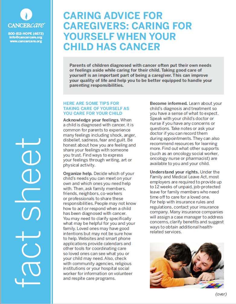 Thumbnail of the PDF version of Caring Advice for Caregivers: Caring for Yourself When Your Child Has Cancer