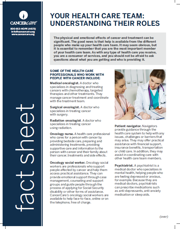Thumbnail of the PDF version of Your Health Care Team: Understanding Their Roles