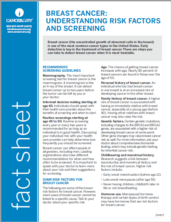 Thumbnail of the PDF version of Breast Cancer: Understanding Risk Factors and Screening