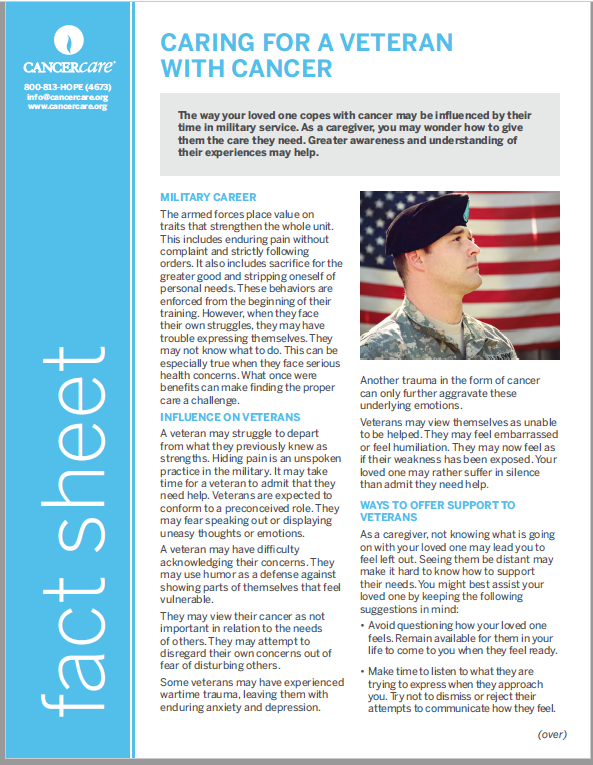 Thumbnail of the PDF version of Caring for a Veteran With Cancer