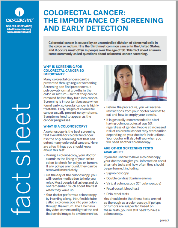 Thumbnail of the PDF version of Colorectal Cancer: The Importance of Screening and Early Detection