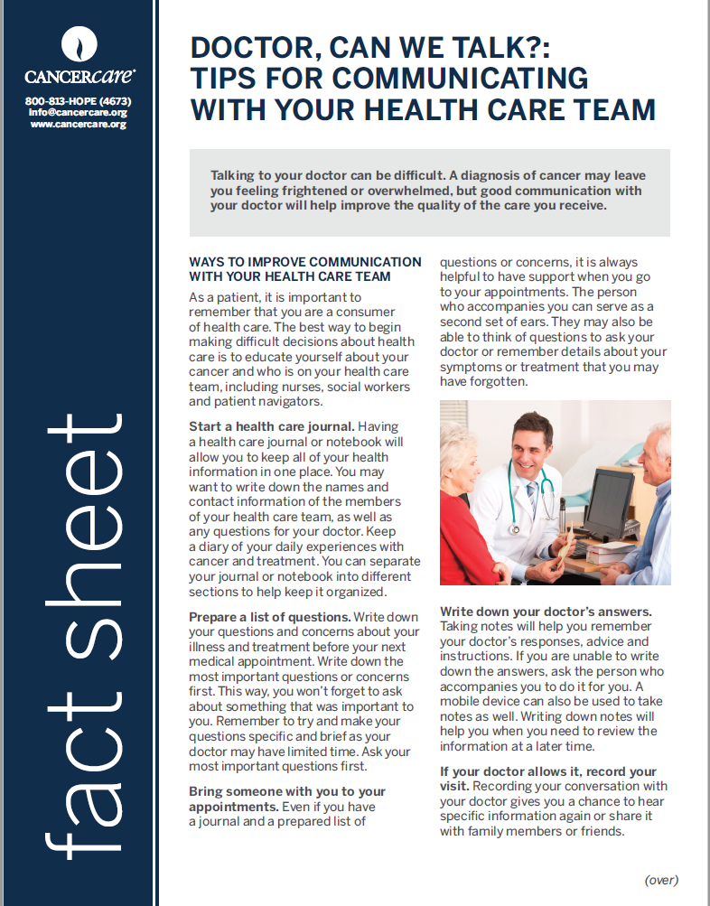 Thumbnail of the PDF version of Doctor, Can We Talk?: Tips for Communicating With Your Health Care Team