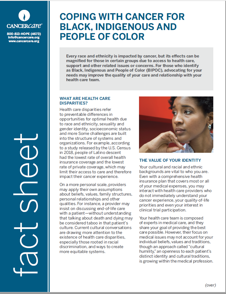 Thumbnail of the PDF version of Coping With Cancer for Black, Indigenous and People of Color