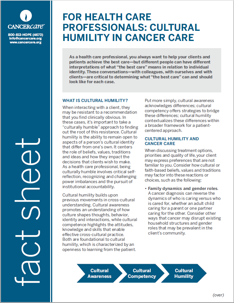 Thumbnail of the PDF version of For Health Care Professionals: Cultural Humility in Cancer Care