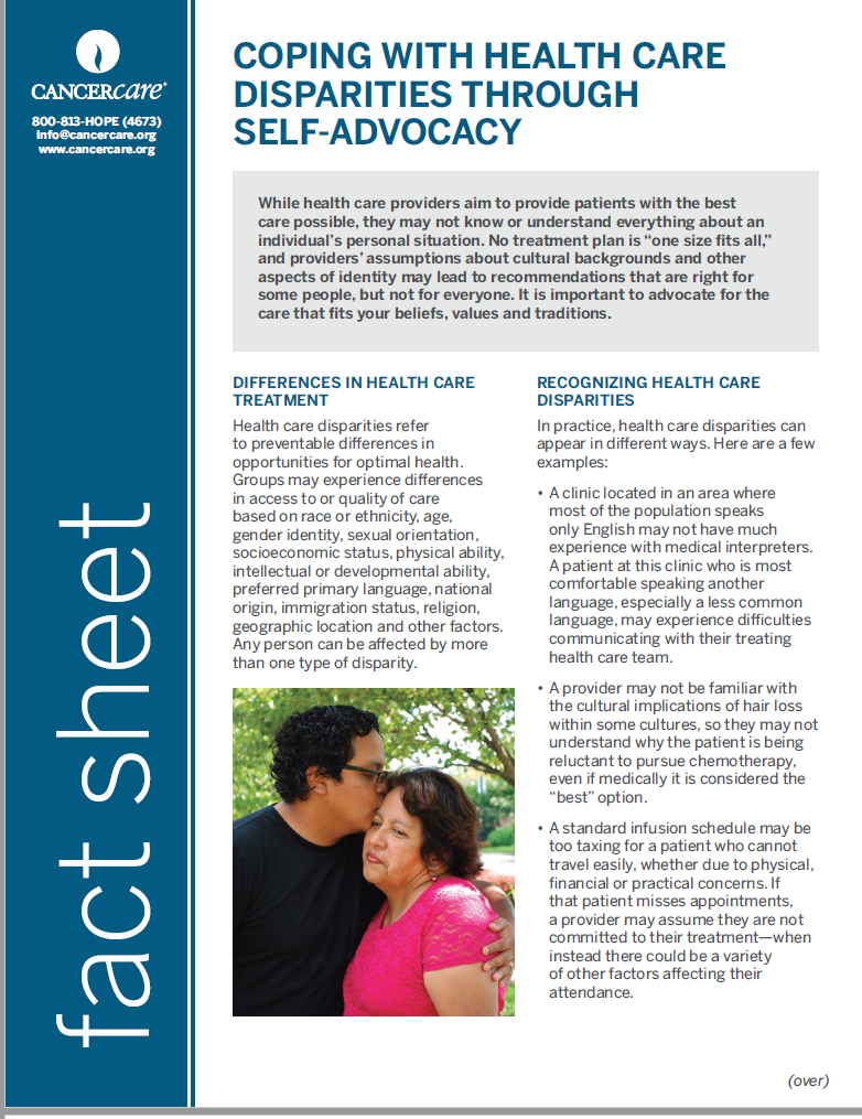 Thumbnail of the PDF version of Coping With Health Care Disparities Through Self-Advocacy
