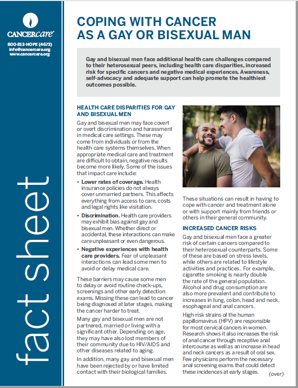 Thumbnail of the PDF version of Coping With Cancer as a Gay or Bisexual Man