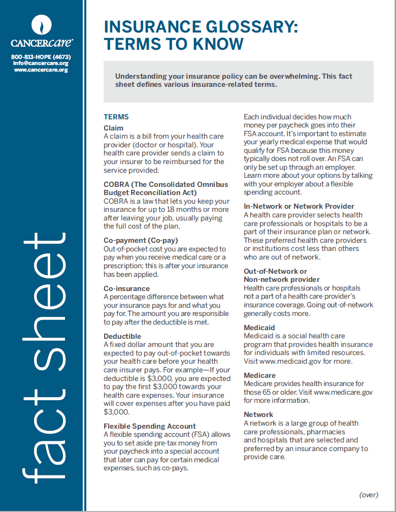 Thumbnail of the PDF version of Insurance Glossary: Terms to Know
