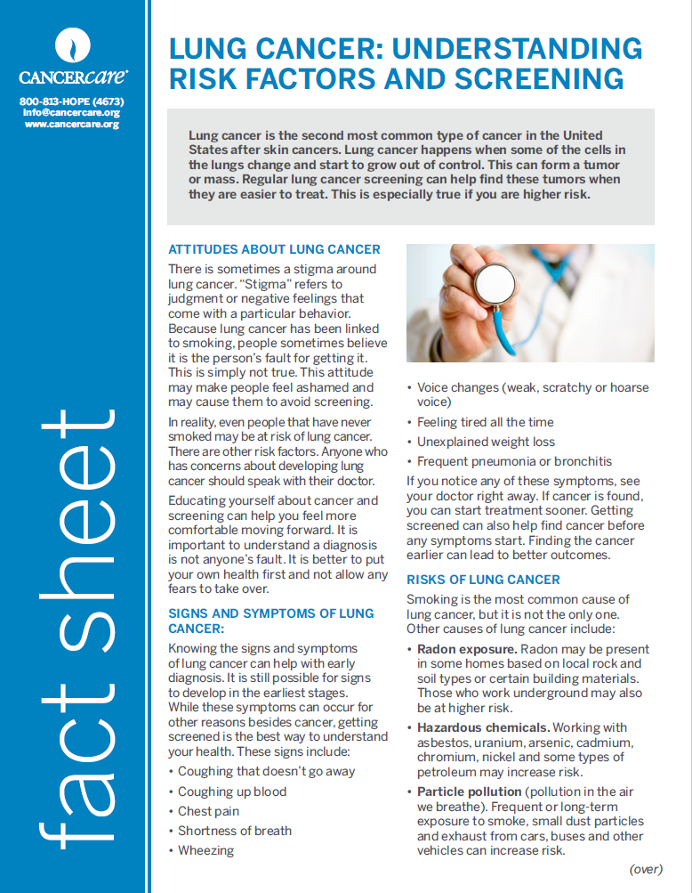 Thumbnail of the PDF version of Lung Cancer: Understanding Risk Factors and Screening