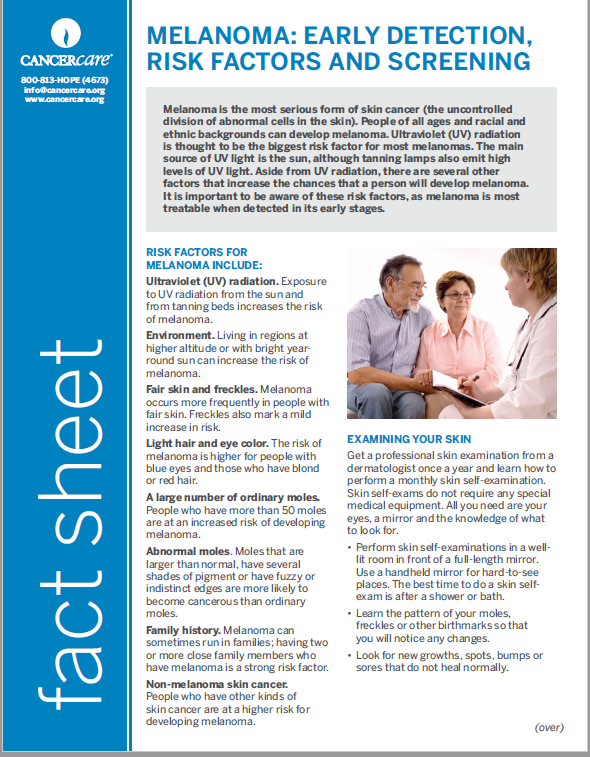 Thumbnail of the PDF version of Melanoma: Early Detection, Risk Factors and Screening