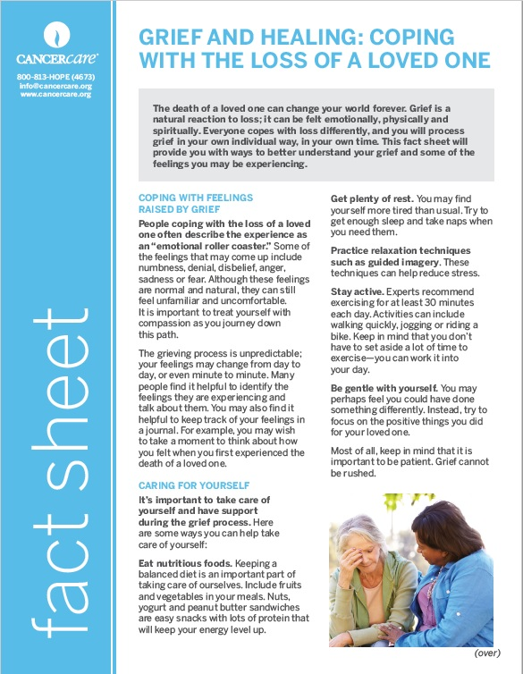 Thumbnail of the PDF version of Grief and Healing: Coping with the Loss of a Loved One