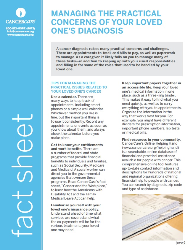 Thumbnail of the PDF version of Managing the Practical Concerns of Your Loved One's Diagnosis