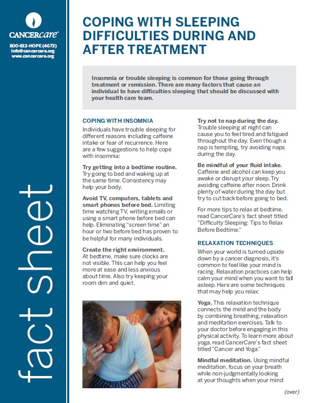 Thumbnail of the PDF version of Coping With Sleeping Difficulties During and After Treatment
