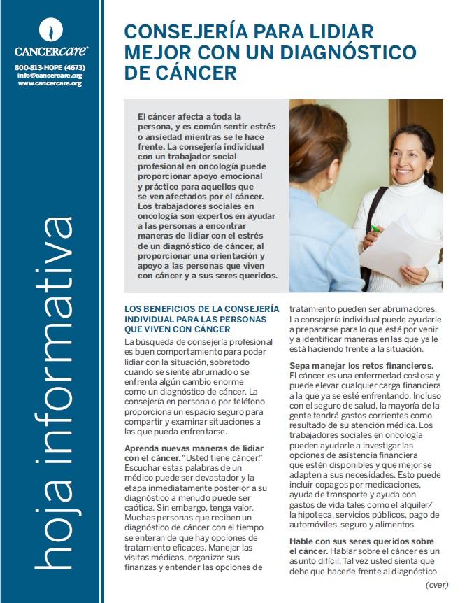 Thumbnail of the PDF version of Consejería para lidiar mejor con un diagnóstico de cáncer