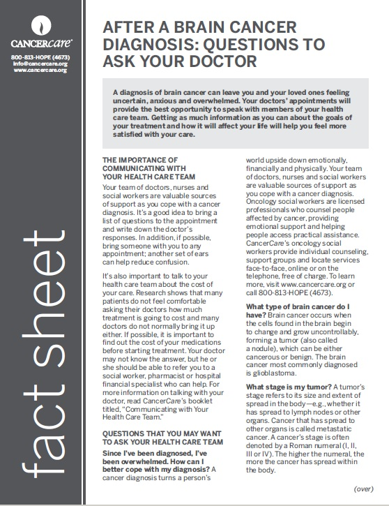 Thumbnail of the PDF version of After a Brain Cancer Diagnosis: Questions to Ask Your Doctor