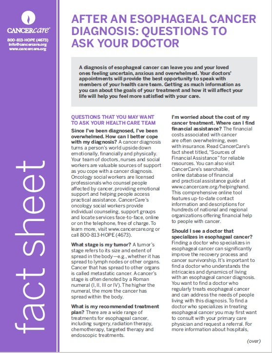 Thumbnail of the PDF version of After an Esophageal Cancer Diagnosis: Questions to Ask Your Doctor
