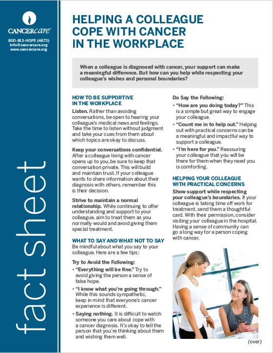 Thumbnail of the PDF version of Helping a Colleague Cope with Cancer in the Workplace