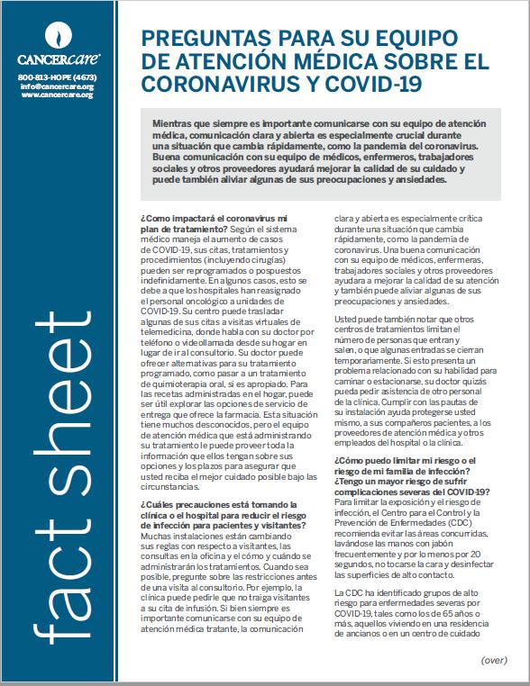 Thumbnail of the PDF version of Preguntas para su equipo de atención médica sobre el coronavirus y COVID-19