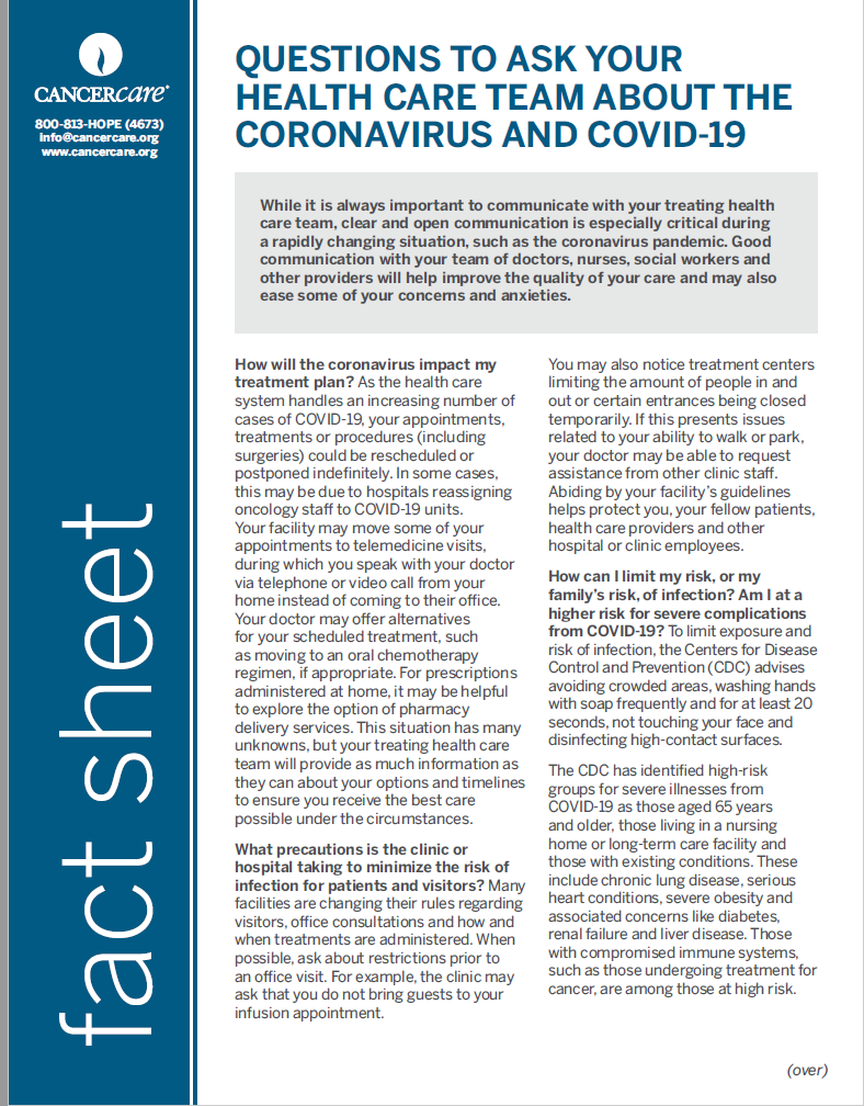 Thumbnail of the PDF version of Questions to Ask Your Health Care Team About the Coronavirus and COVID-19
