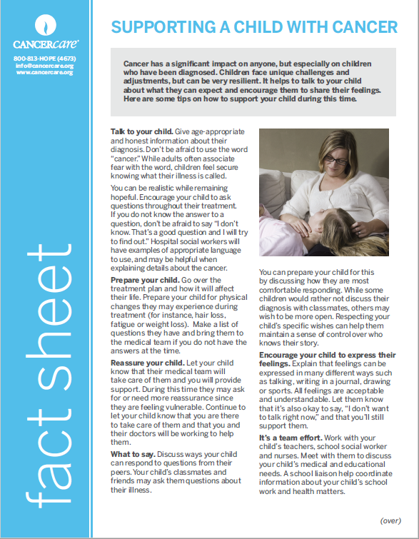 Thumbnail of the PDF version of Supporting a Child With Cancer