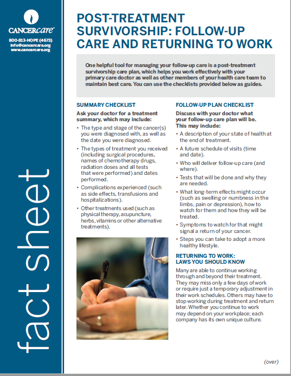 Thumbnail of the PDF version of Post-Treatment Survivorship: Follow-Up Care and Returning to Work