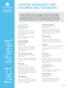 Thumbnail of the PDF version of Support Resources for Children and Teens