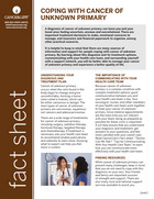 Thumbnail of the PDF version of Coping With Cancer of Unknown Primary