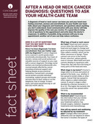 Thumbnail of the PDF version of After a Head or Neck Cancer Diagnosis: Questions to Ask Your Health Care Team