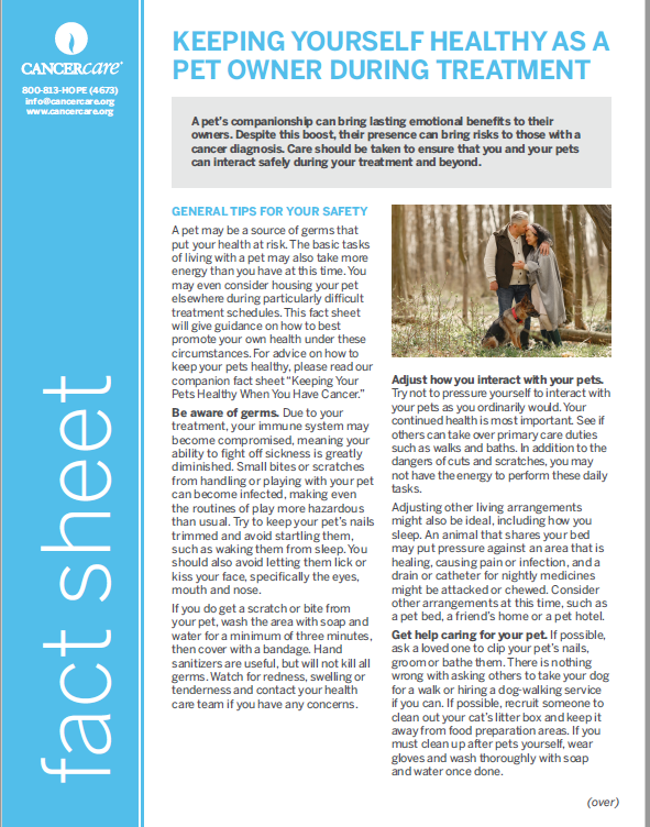 Thumbnail of the PDF version of Keeping Yourself Healthy as a Pet Owner During Treatment