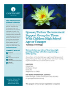 135 spouse partner bereavement support group for those with children high school age or younger